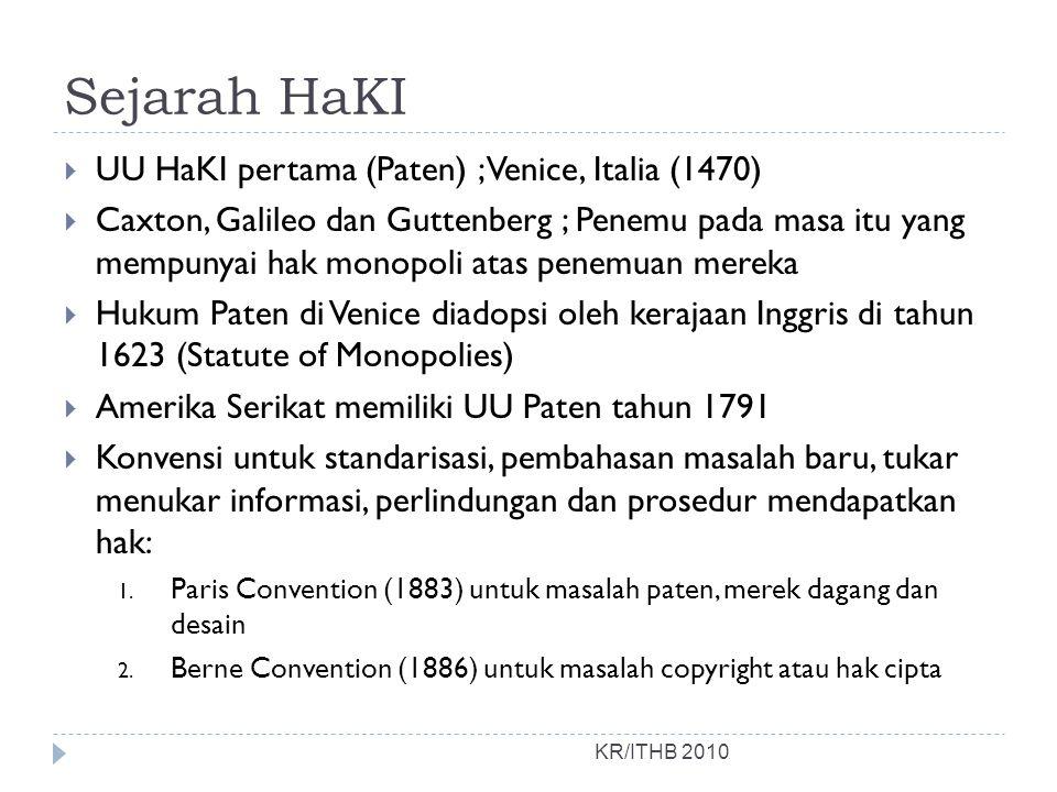 Sejarah HaKI UU HaKI pertama (Paten) ; Venice, Italia (1470)