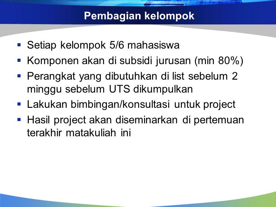 Pembagian kelompok Setiap kelompok 5/6 mahasiswa. Komponen akan di subsidi jurusan (min 80%)