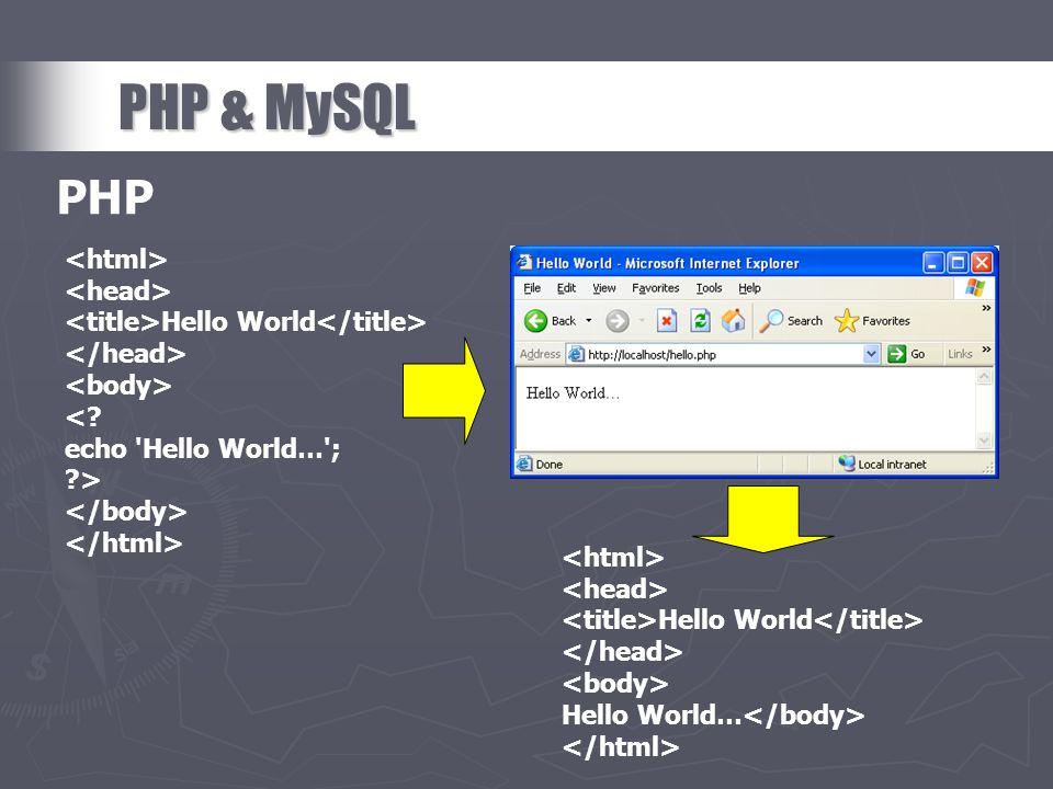 PHP & MySQL PHP <html> <head>