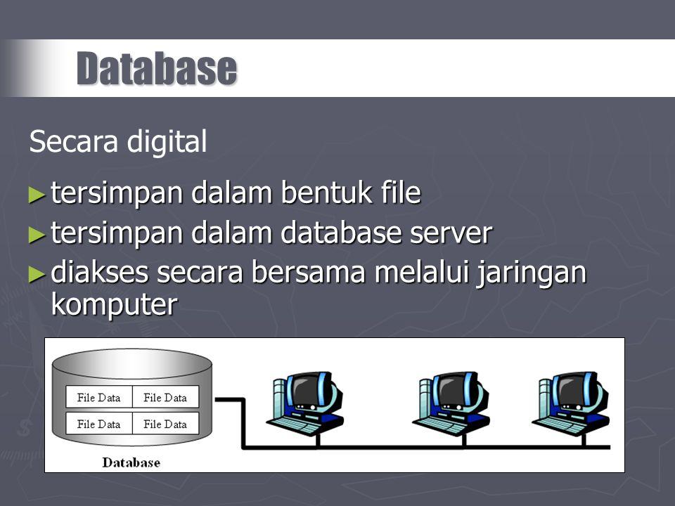 Database Secara digital tersimpan dalam bentuk file