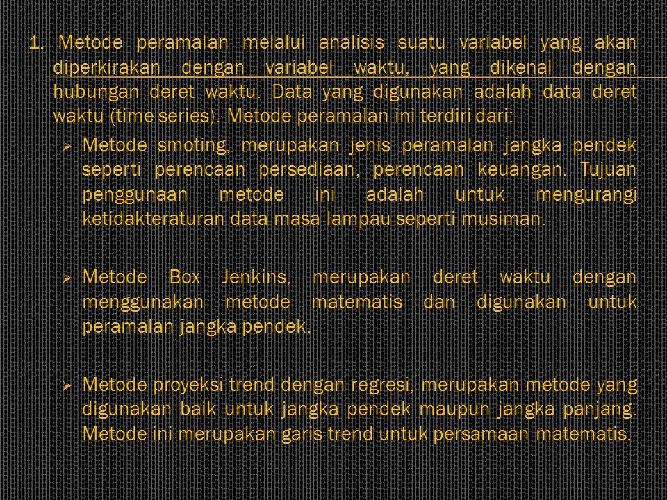 1. Metode peramalan melalui analisis suatu variabel yang akan diperkirakan dengan variabel waktu, yang dikenal dengan hubungan deret waktu. Data yang digunakan adalah data deret waktu (time series). Metode peramalan ini terdiri dari:
