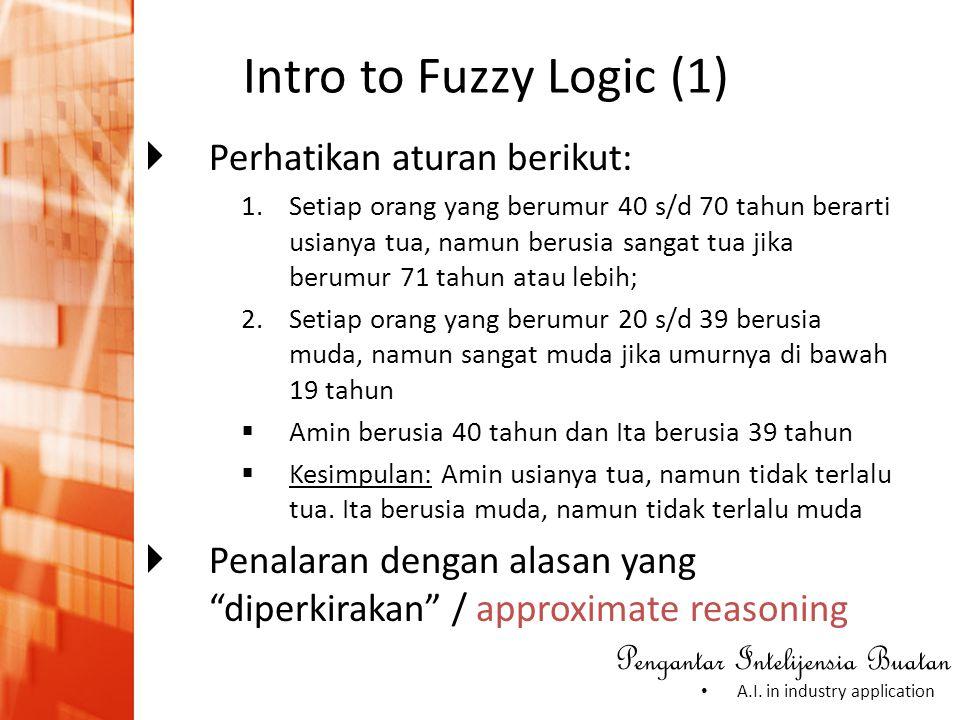 Intro to Fuzzy Logic (1) Perhatikan aturan berikut:
