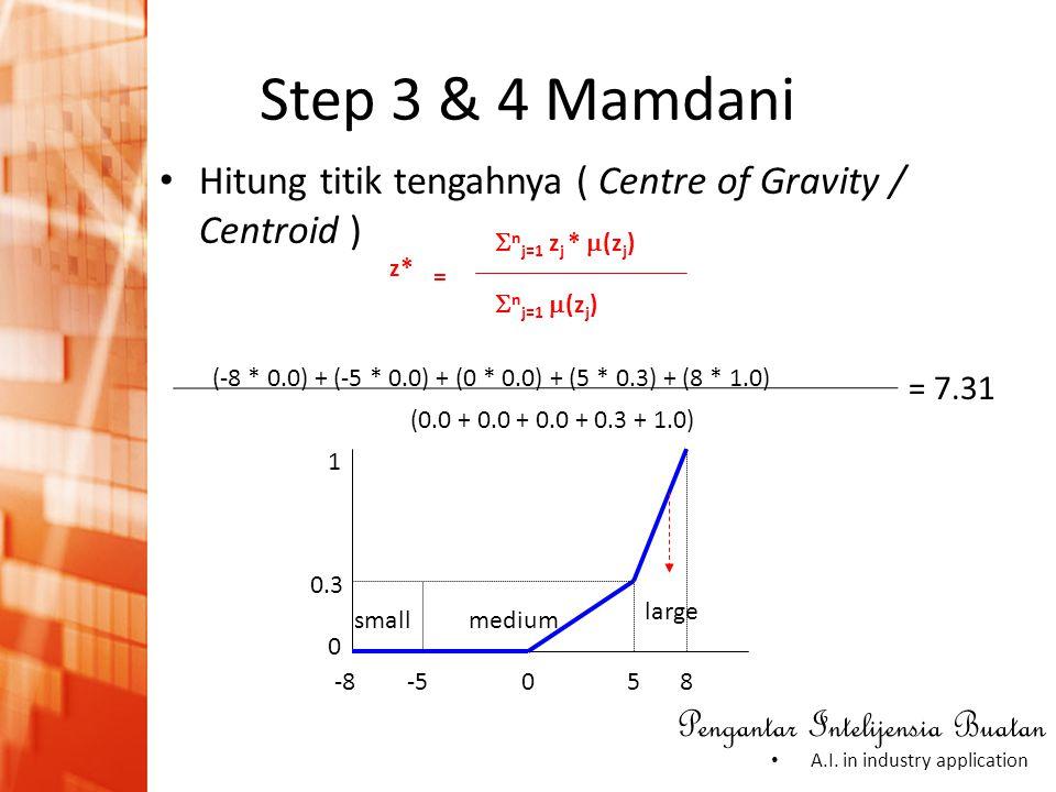 Step 3 & 4 Mamdani Hitung titik tengahnya ( Centre of Gravity / Centroid ) (-8 * 0.0) + (-5 * 0.0) + (0 * 0.0) + (5 * 0.3) + (8 * 1.0)