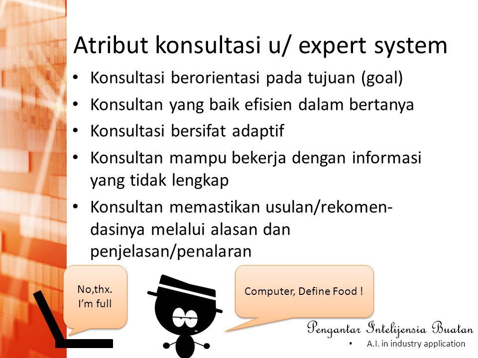 Atribut konsultasi u/ expert system