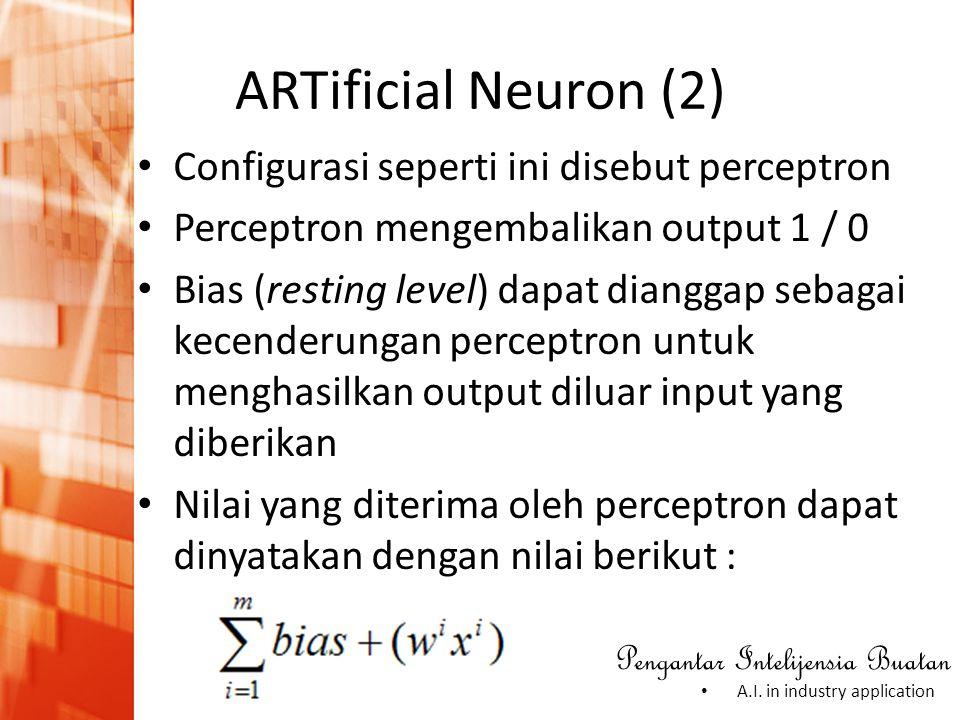 ARTificial Neuron (2) Configurasi seperti ini disebut perceptron