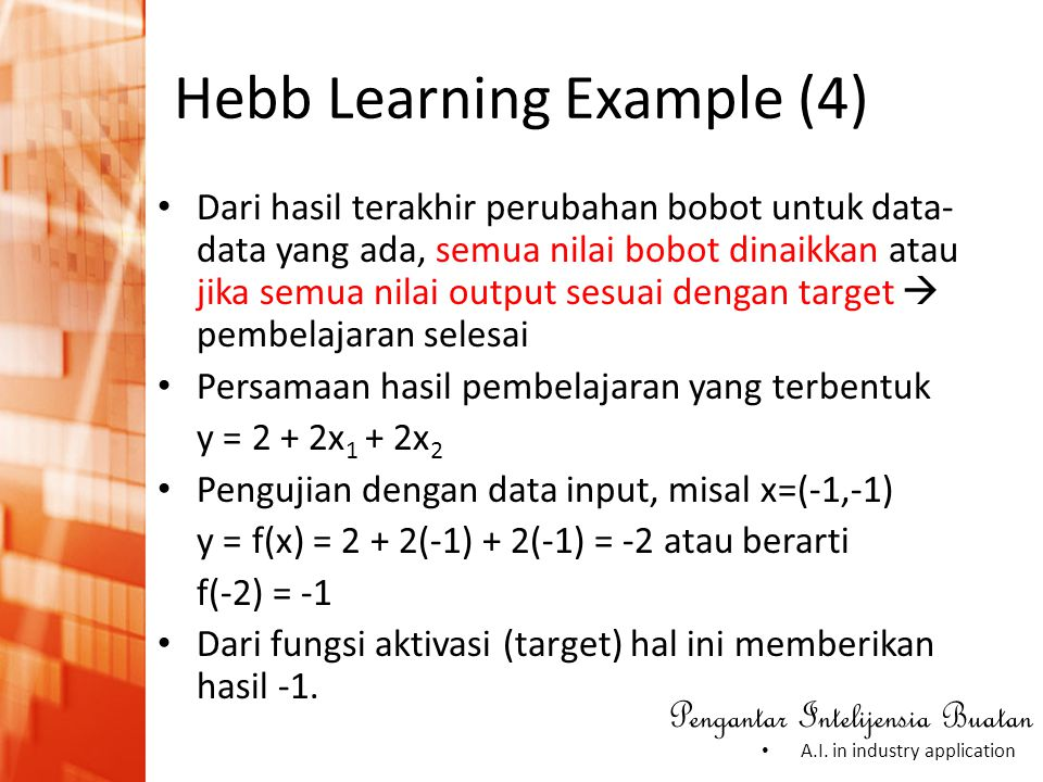 Hebb Learning Example (4)