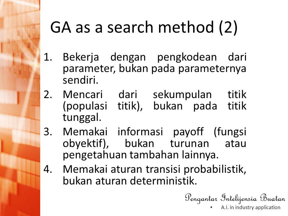 GA as a search method (2) Bekerja dengan pengkodean dari parameter, bukan pada parameternya sendiri.