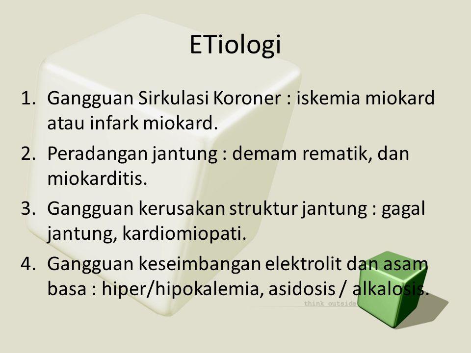 ETiologi Gangguan Sirkulasi Koroner : iskemia miokard atau infark miokard. Peradangan jantung : demam rematik, dan miokarditis.