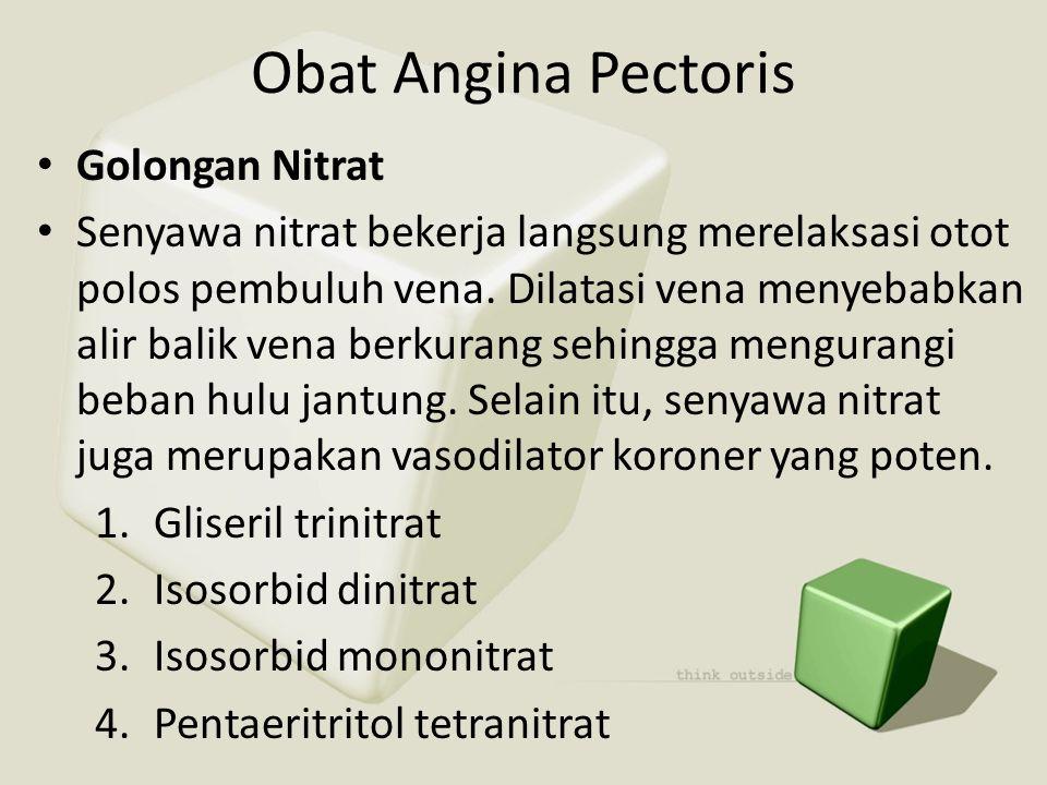 Obat Angina Pectoris Golongan Nitrat