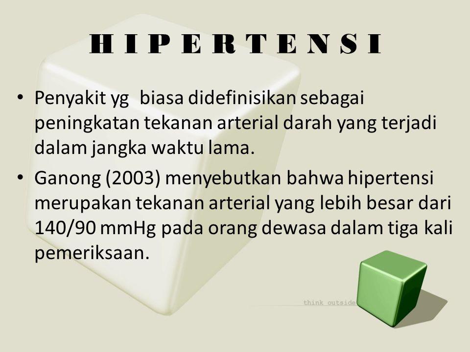 H I P E R T E N S I Penyakit yg biasa didefinisikan sebagai peningkatan tekanan arterial darah yang terjadi dalam jangka waktu lama.
