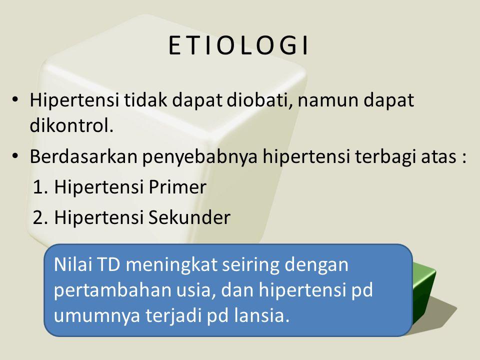 ETIOLOGI Hipertensi tidak dapat diobati, namun dapat dikontrol.