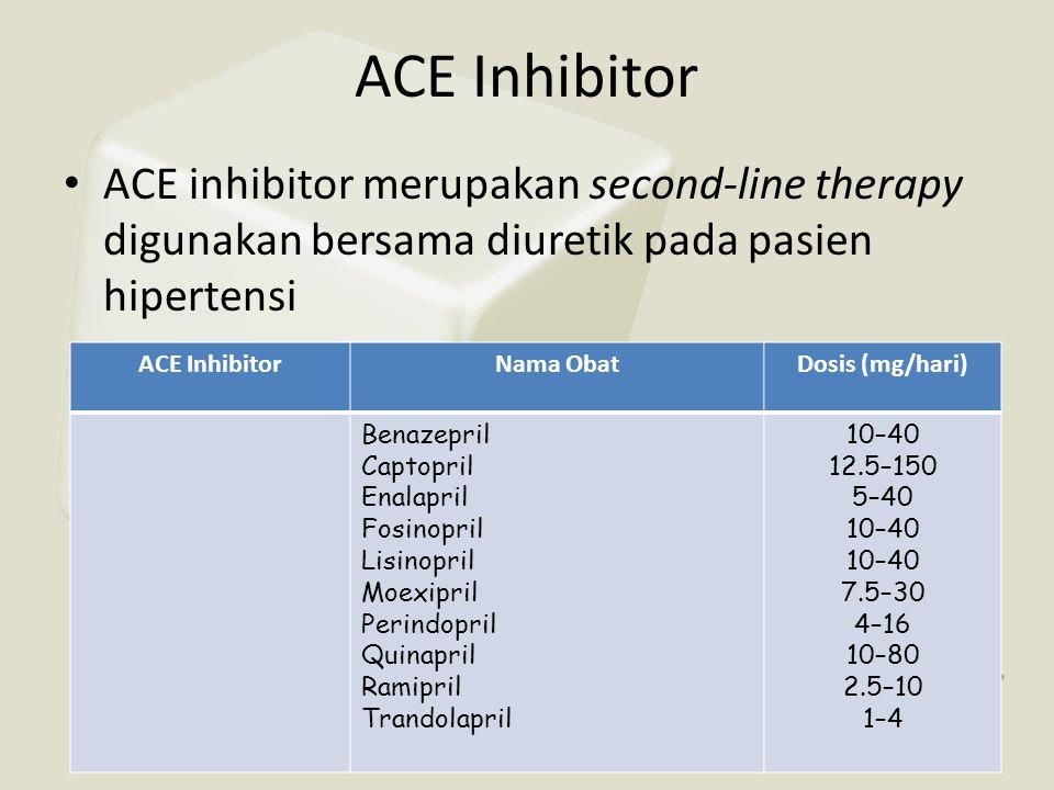 ACE Inhibitor ACE inhibitor merupakan second-line therapy digunakan bersama diuretik pada pasien hipertensi.