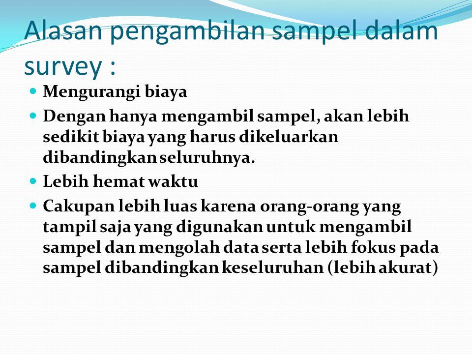 Alasan pengambilan sampel dalam survey :