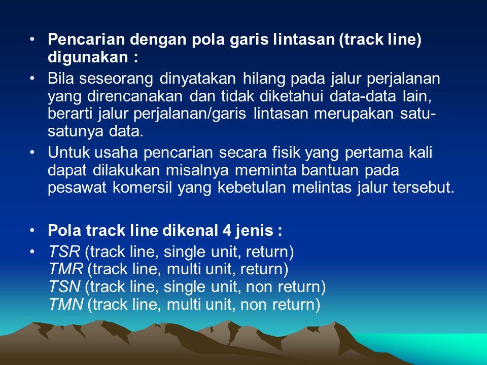 Pencarian dengan pola garis lintasan (track line) digunakan :