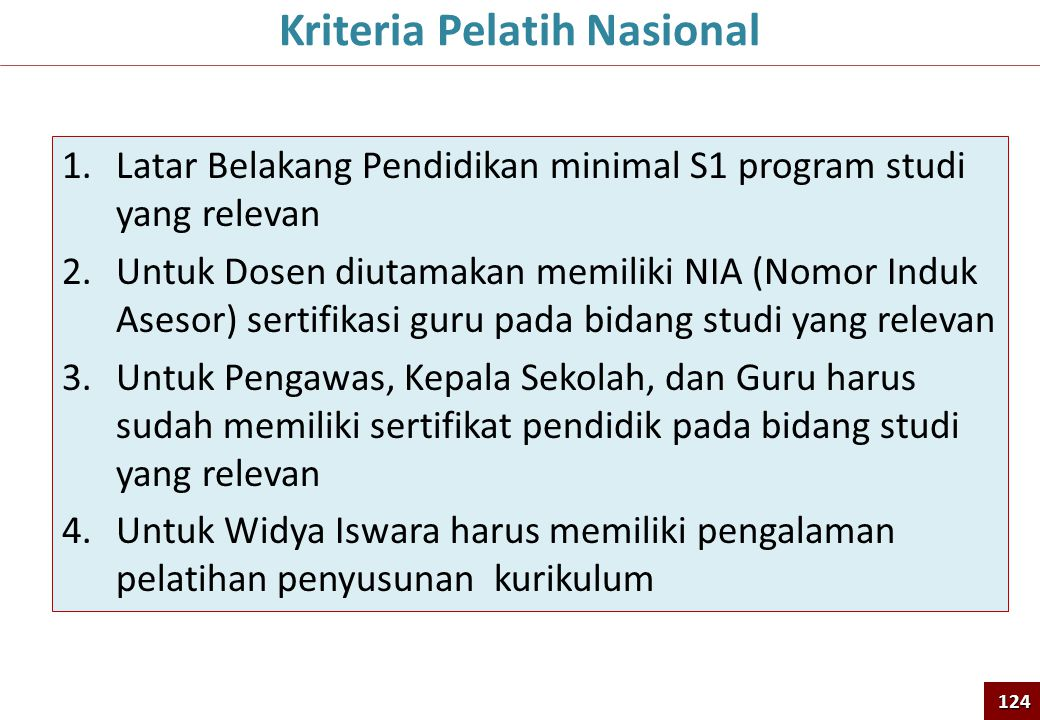 Kriteria Pelatih Nasional