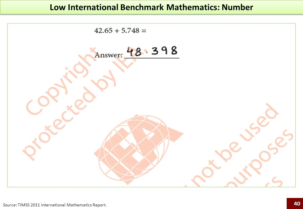 Low International Benchmark Mathematics: Number