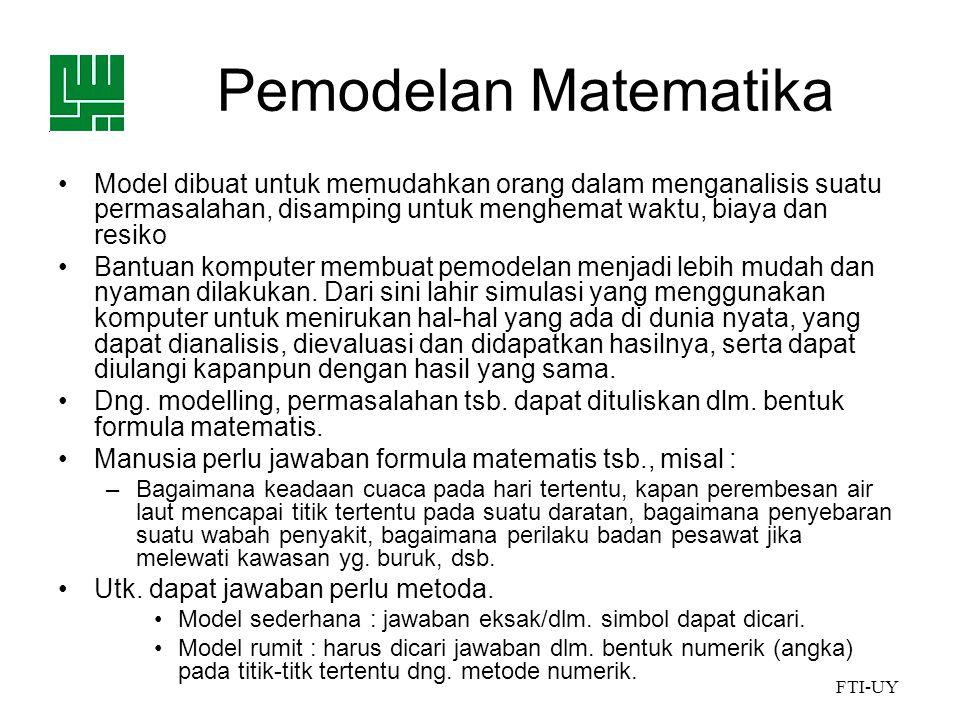 Pemodelan Matematika Model dibuat untuk memudahkan orang dalam menganalisis suatu permasalahan, disamping untuk menghemat waktu, biaya dan resiko.