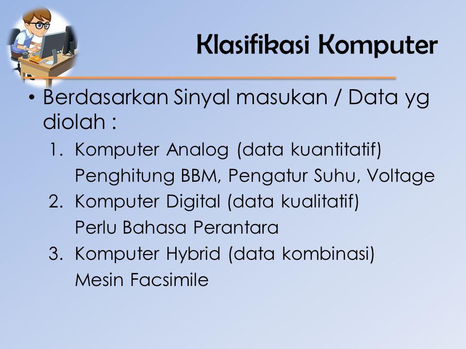 Klasifikasi Komputer Berdasarkan Sinyal masukan / Data yg diolah :