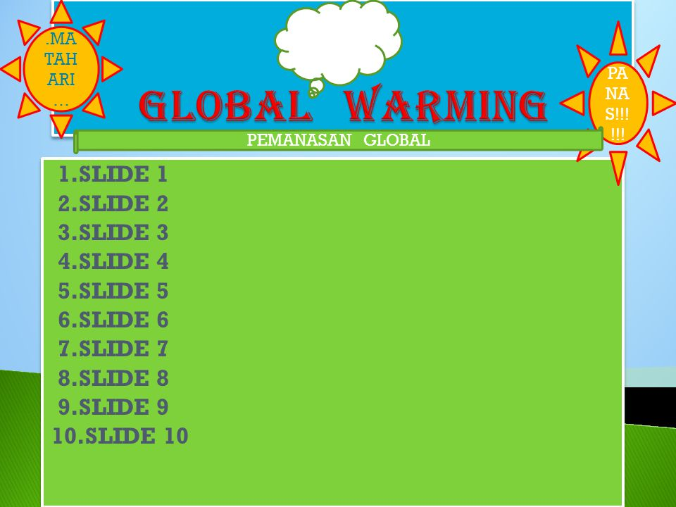 GLOBAL WARMING 1.SLIDE 1 2.SLIDE 2 3.SLIDE 3 4.SLIDE 4 5.SLIDE 5