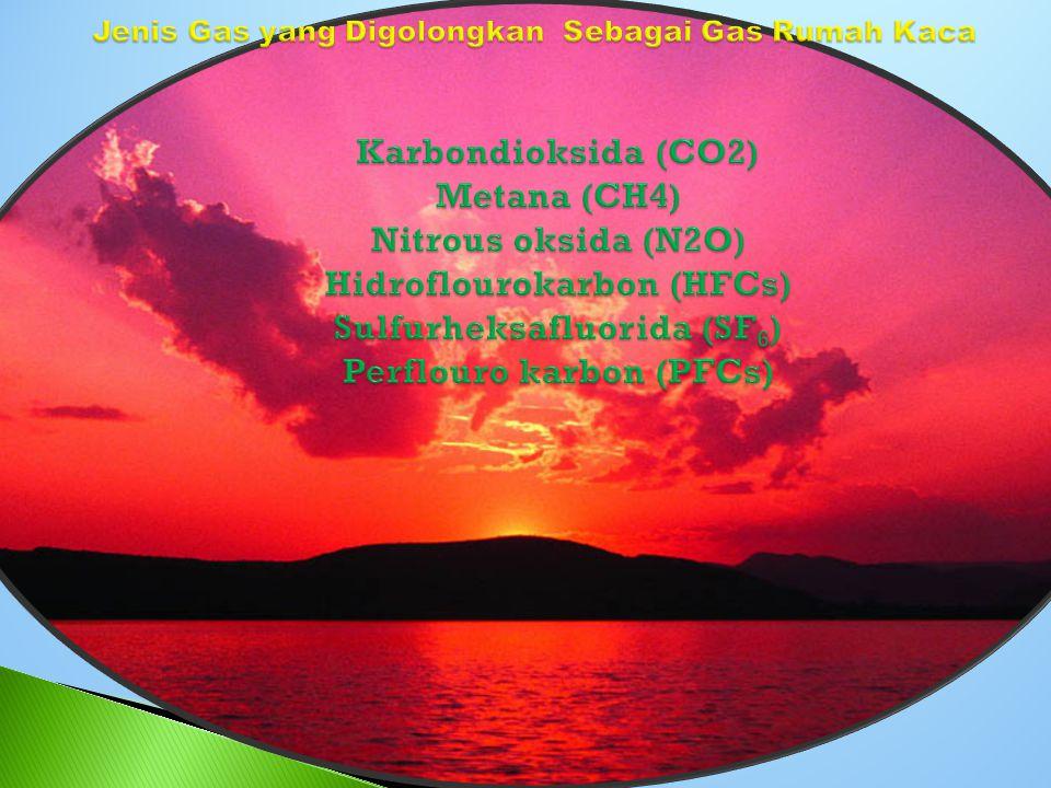 Jenis Gas yang Digolongkan Sebagai Gas Rumah Kaca Karbondioksida (CO2) Metana (CH4) Nitrous oksida (N2O) Hidroflourokarbon (HFCs) Sulfurheksafluorida (SF6) Perflouro karbon (PFCs)