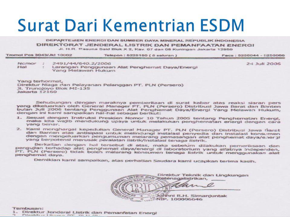 Surat Dari Kementrian ESDM