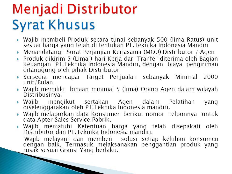 Menjadi Distributor Syrat Khusus