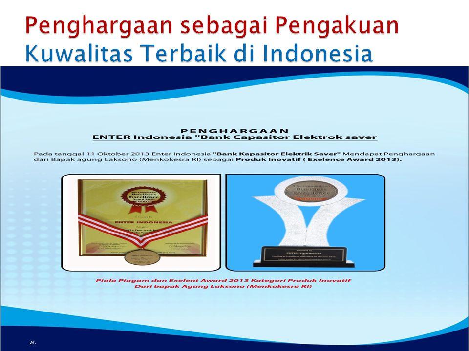 Penghargaan sebagai Pengakuan Kuwalitas Terbaik di Indonesia
