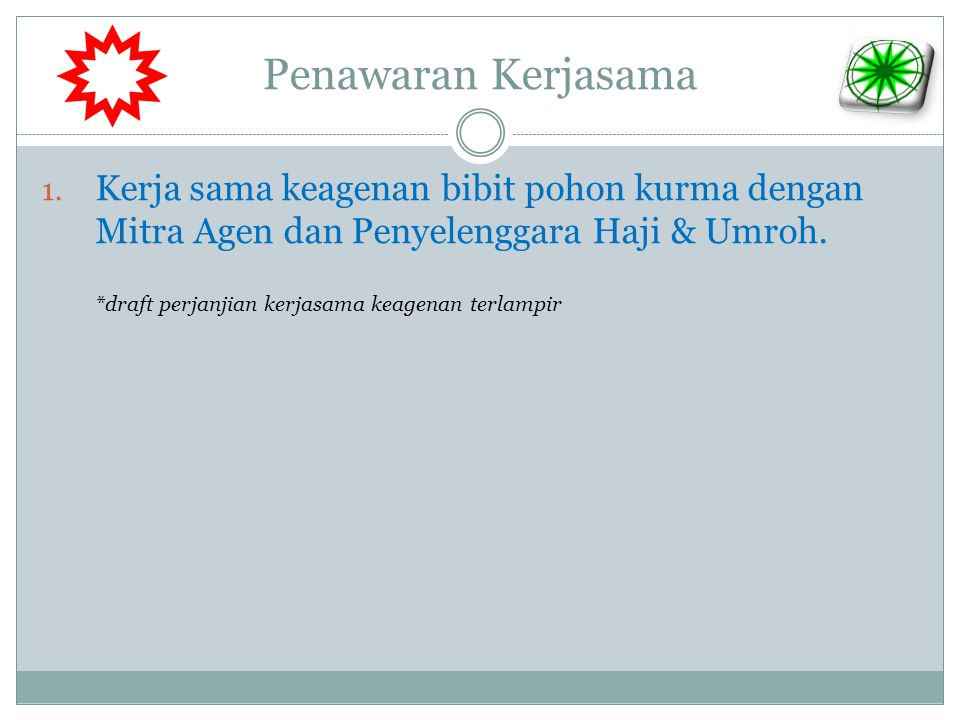 Penawaran Kerjasama Kerja sama keagenan bibit pohon kurma dengan Mitra Agen dan Penyelenggara Haji & Umroh.