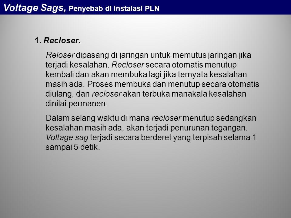 Voltage Sags, Penyebab di Instalasi PLN