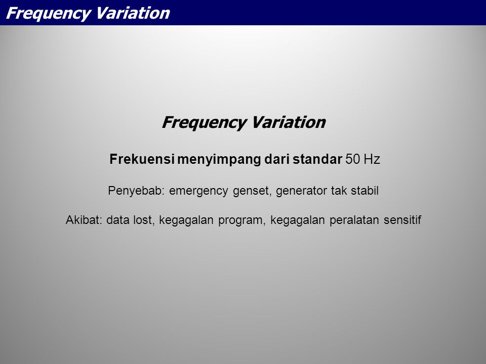 Frequency Variation Frequency Variation
