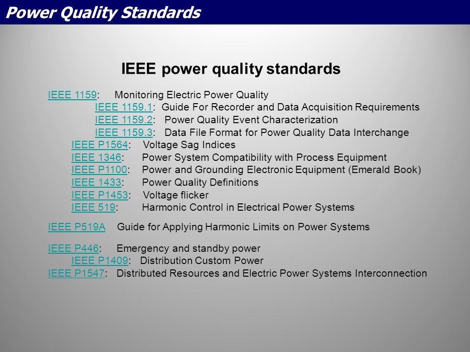 IEEE power quality standards