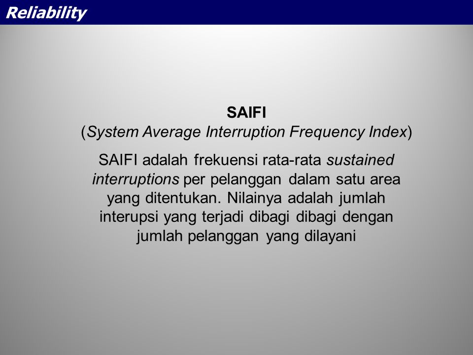 (System Average Interruption Frequency Index)