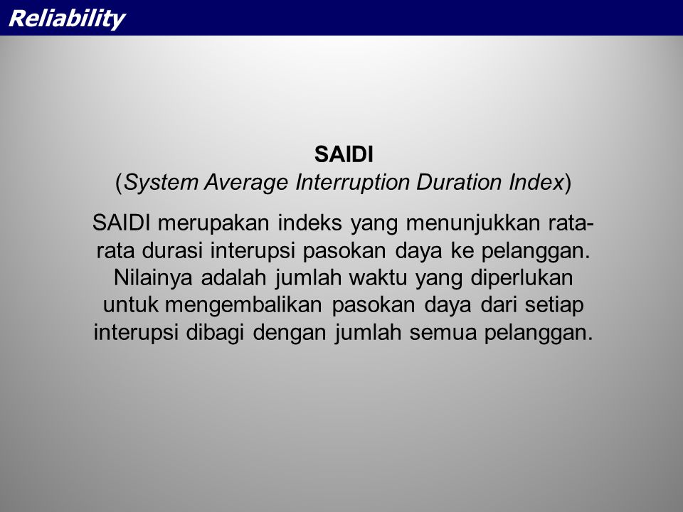 (System Average Interruption Duration Index)