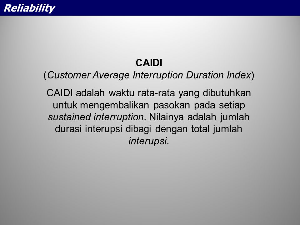(Customer Average Interruption Duration Index)