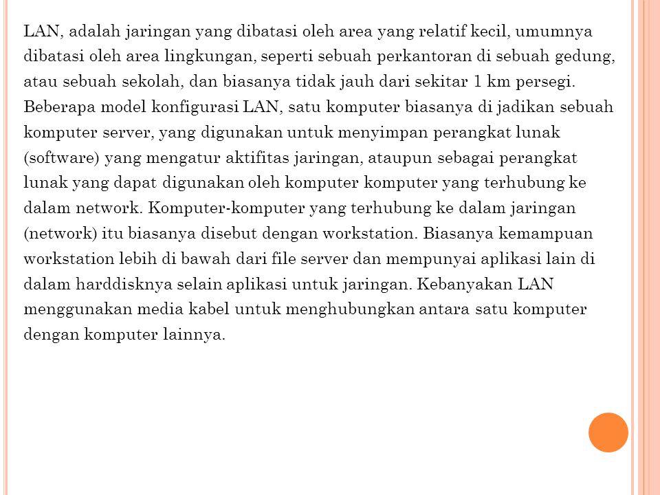 LAN, adalah jaringan yang dibatasi oleh area yang relatif kecil, umumnya