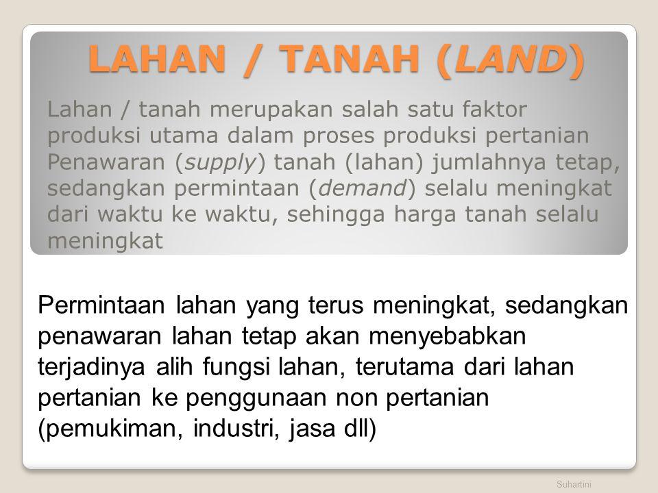 LAHAN / TANAH (LAND) Lahan / tanah merupakan salah satu faktor produksi utama dalam proses produksi pertanian.