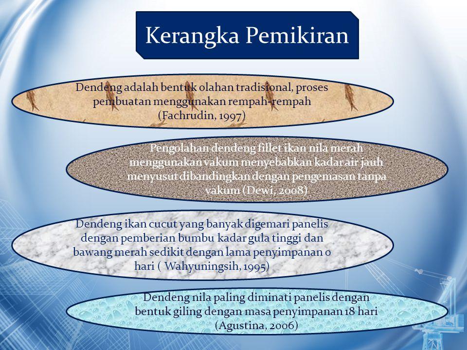 Kerangka Pemikiran Dendeng adalah bentuk olahan tradisional, proses pembuatan menggunakan rempah-rempah (Fachrudin, 1997)