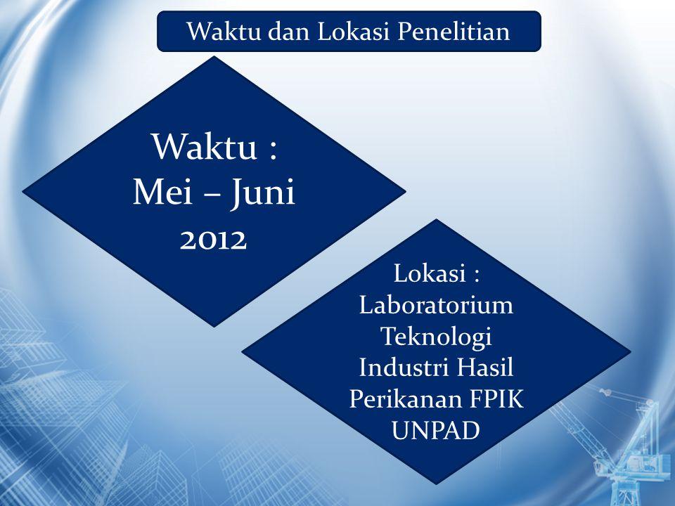 Waktu : Mei – Juni 2012 Waktu dan Lokasi Penelitian