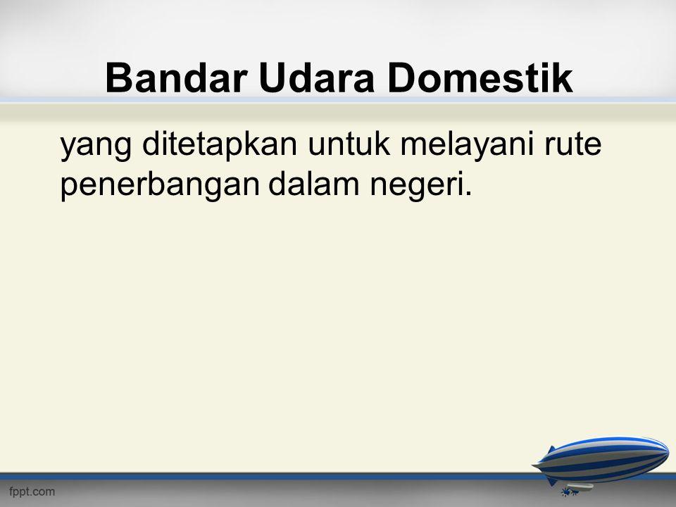 Bandar Udara Domestik yang ditetapkan untuk melayani rute penerbangan dalam negeri.