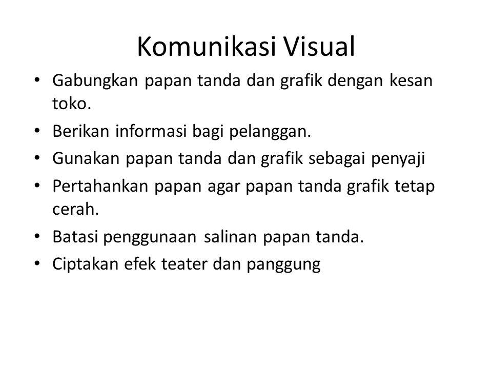 Komunikasi Visual Gabungkan papan tanda dan grafik dengan kesan toko.