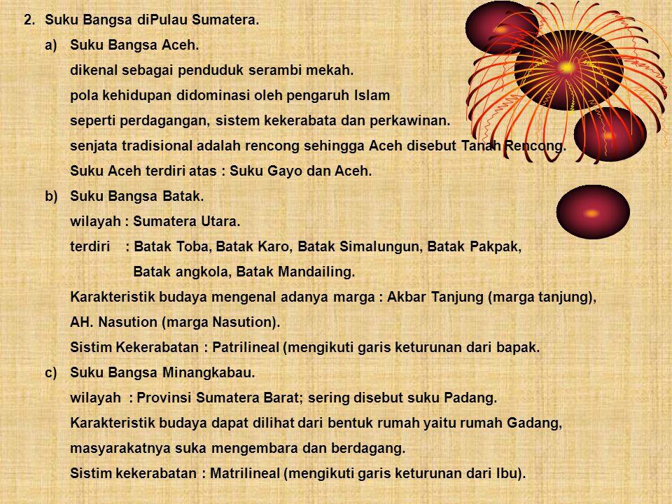 2. Suku Bangsa diPulau Sumatera.