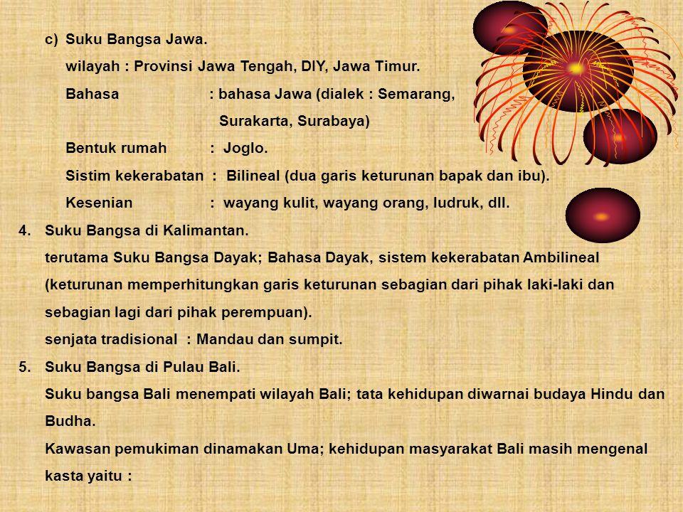 c) Suku Bangsa Jawa. wilayah : Provinsi Jawa Tengah, DIY, Jawa Timur. Bahasa : bahasa Jawa (dialek : Semarang,