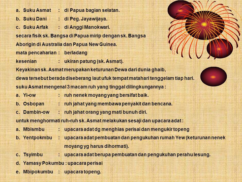 a. Suku Asmat : di Papua bagian selatan.
