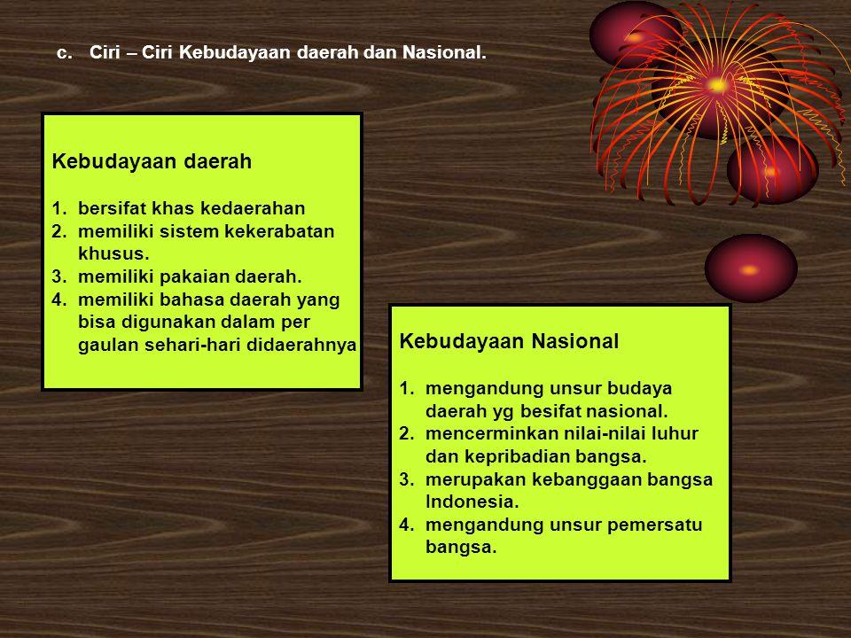 Kebudayaan daerah Kebudayaan Nasional