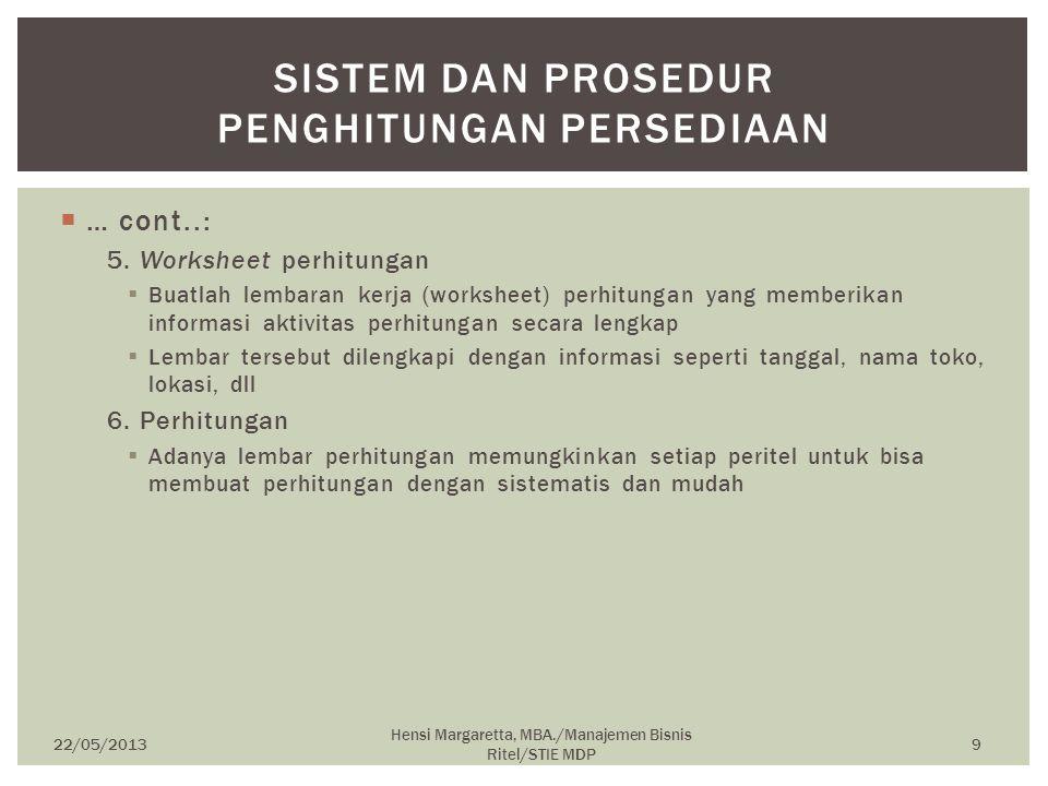 Sistem dan Prosedur Penghitungan Persediaan