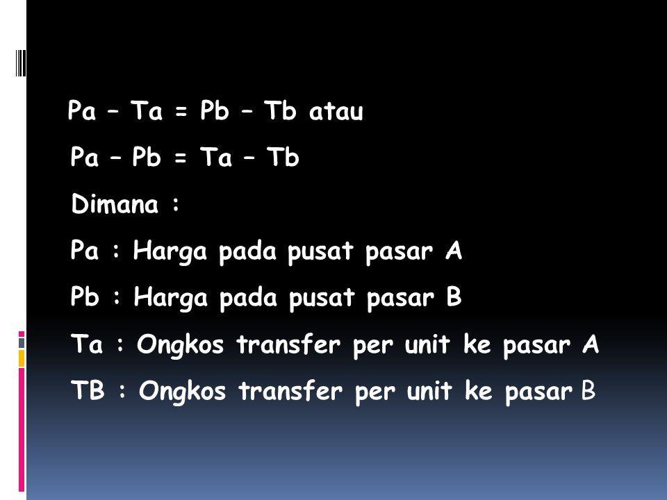 Pa – Ta = Pb – Tb atau Pa – Pb = Ta – Tb. Dimana : Pa : Harga pada pusat pasar A. Pb : Harga pada pusat pasar B.