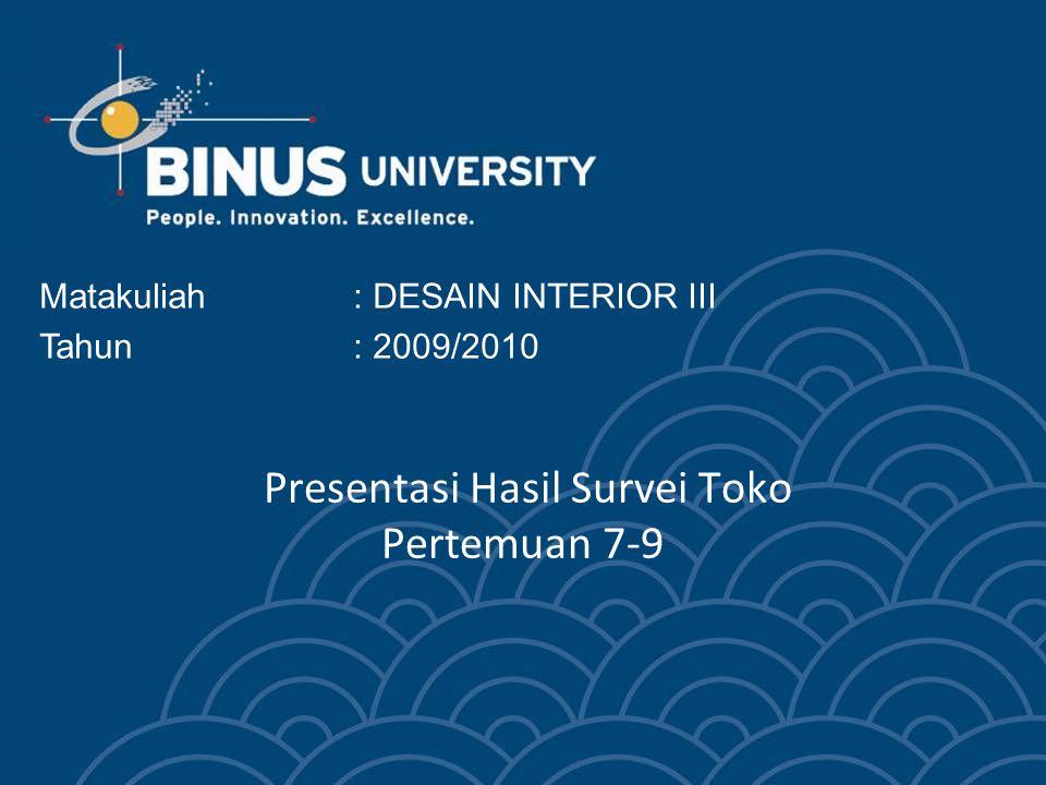 Presentasi Hasil Survei Toko Pertemuan 7-9