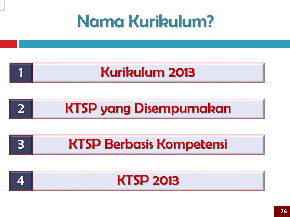 Nama Kurikulum 1 Kurikulum 2013 2 KTSP yang Disempurnakan 3
