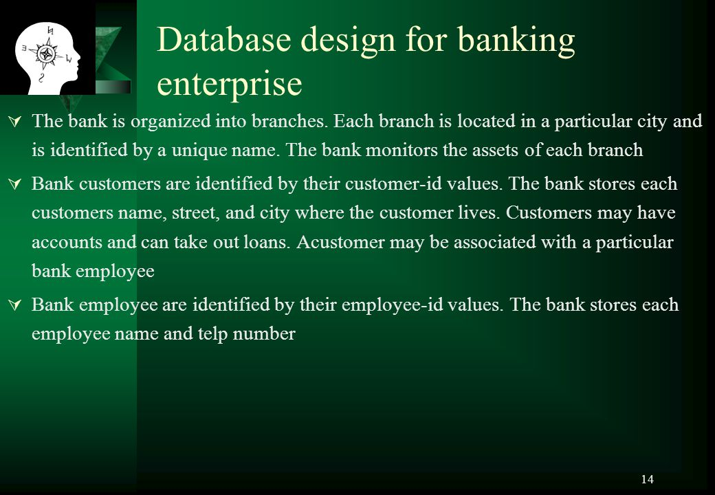 Database design for banking enterprise