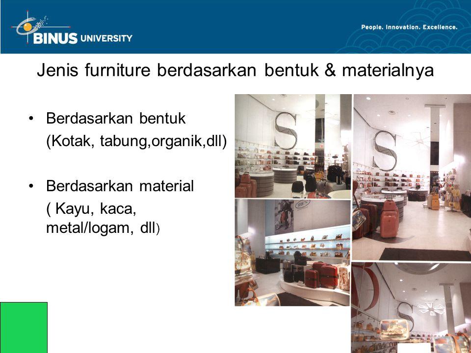Jenis furniture berdasarkan bentuk & materialnya